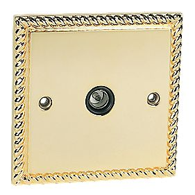 TV Socket Georgian Brass
