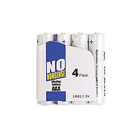No Nonsense Alkaline Batteries AAA Pack of 4
