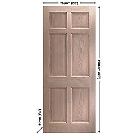 Jeld-Wen Eversley Oak Multi-Purpose Exterior Door Unfinished 762 x 1981mm