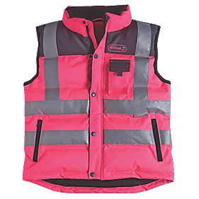 Ladies Hi-Vis Body Warmer Pink Medium Size 12-14