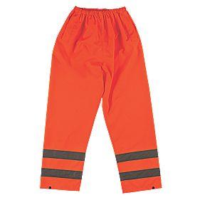"Hi-Vis Reflective Trousers Elasticated Waist Orange XX Large 28-50"" W 31"" L"
