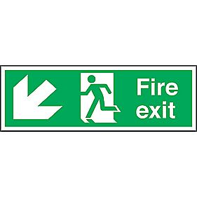 """Fire Exit"" Down Left Arrow Signs 150 x 450mm Pack of 50"
