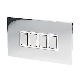 LAP 4-Gang 2-Way 10AX Light Switch Polished Chrome