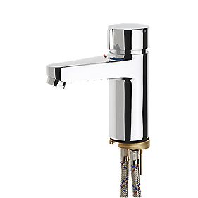 AQUAMIX C Self-Closing Mixer Tap with Fixed Chrome Tails/Connecting Pipes