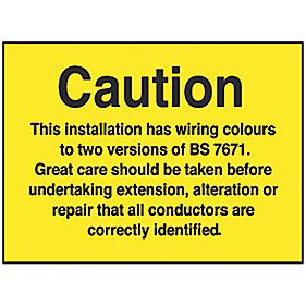 "Electrical Safety ""Caution 2 Wiring Colours"" Labels 50 x 75mm Pack of 10"