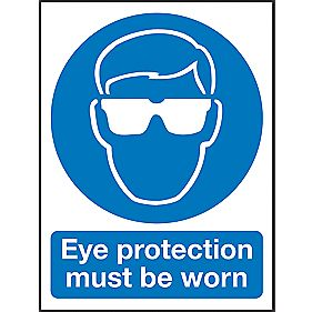"""Eye Protection Must Be Worn"" Sign 200 x 150mm"