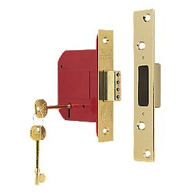 "5-Lever BS 3621: 2007 Mortice Deadlock Brass 3"" / 76mm"