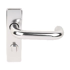Excell Less Able Lever on Backplate WC Door Handles Pair Satin Aluminium