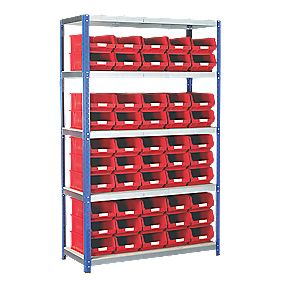 Barton Ecorax Shelving 1200 x 450mm 5 Shelves with 50 x TC4 Red