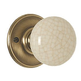 Delamain Porcelain Mortice Knob Pair Ivory Florentine Bronze 70mm Pack of 2