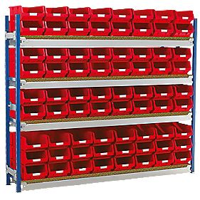 Toprax Longspan Starter Bay w/ 72 x TC4 Red Containers 1812 x 328 x 1500mm