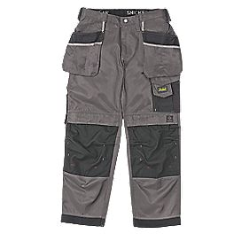 "Snickers 3212 DuraTwill Trousers Grey/Black 38"" W 32"" L"