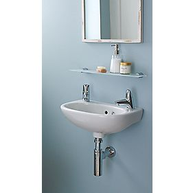 Ideal Standard Studio Wall-Hung Basin & Bottle Trap 2 Tap Holes 350mm