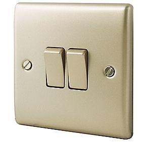 BG Pearl Nickel 2 Gang 2 Way 10AX Switch