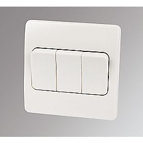 MK 3-Gang 2-Way 10AX Light Switch with Wide Rocker White
