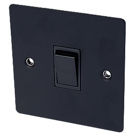Volex 10A 1-Gang 2-Way Switch Blk Ins Matt Black Flat Plate
