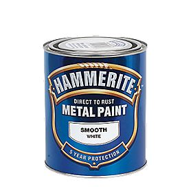 Hammerite Smooth Metal Paint White 750ml
