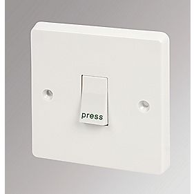 Crabtree 1-Gang 1-Way Retractive Switch marked 'Press'
