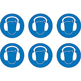 Wear Ear Protectors Symbol Adhesive Labels 100mm x mm Pack of 30