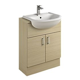 Bathroom Vanity Unit & Basin Oak Slab 600 x 300 x 81mm