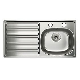 Carron Phoenix Kitchen Sink Stainless Steel 1 Bowl & Left Hand Drainer 940 x 180mm