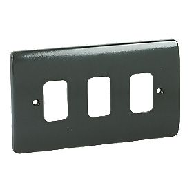 MK 3-Gang Moulded Front Plate Graphite