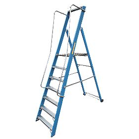 Lyte Widestep Fibreglass Platform Step Ladder 7-Tread 2.47m