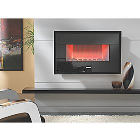 Focal Point Piano Black Wall Hung Electric Fire Black 2kW