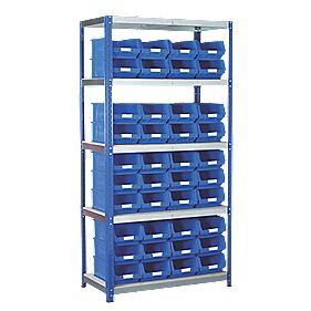 Barton Ecorax Shelving 900 x 450mm 5 Shelves with 40 x TC4 Blue