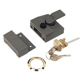 Yale Narrow Night Latch Grey 40mm Backset