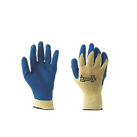 Keep Safe Kevlar Grip Cut-Resistant Latex-Coated Palm Gloves Blue Large