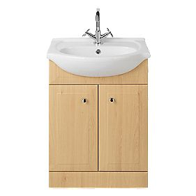 Vanity Bathroom Basin Unit Large Beech 610mm