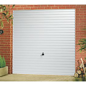 "Unbranded Horizon 7' 6 "" x 7' Frameless Steel Garage Door White"