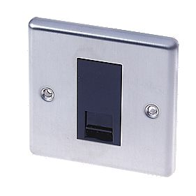 LAP 1-Gang Slave Telephone Socket Stainless Steel