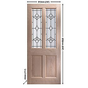 Jeld-Wen Thornbury Double-Glazed Ext. Door Unfinished Oak Veneer 813 x 2032mm