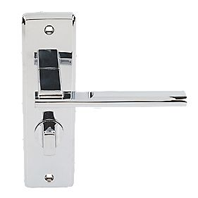 Jedo Frelan Delta Lever on Backplate WC Door Handles Pair Polished Chrome
