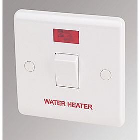 LAP 20A DP Water Heater Switch with Neon White
