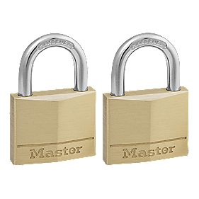 Master Lock Keyed Alike Padlocks Brass 40mm Pack of 2