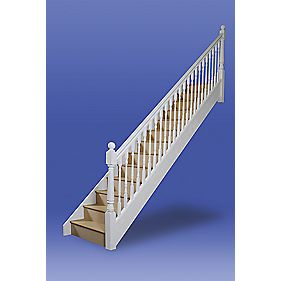 Stairways Chamfered Straight Staircase RH White