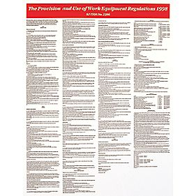 """Provision Of Use Of Work Equipment Regulations 1998"" Poster 590 x 450mm"