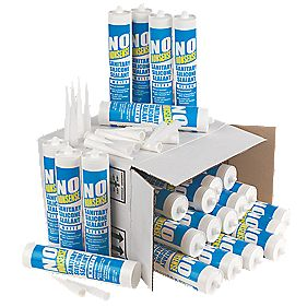 No Nonsense 11669102 & 11669002 Plumbers Sanitary Silicone 12 x Clear & 12 x White 310ml Pk24
