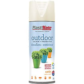 Plasti-Kote Outdoor Spray Paint Satin Vanilla 400ml