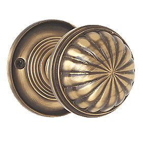 Jedo Fluted Mortice Knobs Pair Antique Bronze