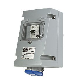 MK Commando Interlocked Angled Socket 2P+E 16A RCD 200-250V (IP44)