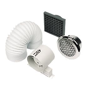 Manrose In-Line Chrome 20W Shower Fan Kit