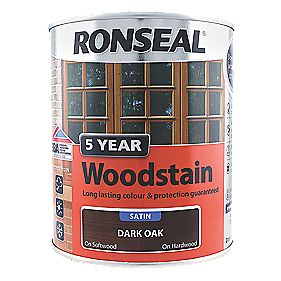 Ronseal Exterior 5 Year Wood Stain Satin Dark Oak 750ml