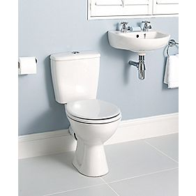 Grove 2 Tap Holes Cloakroom Suite Wall-Hung Basin & CC Toilet White