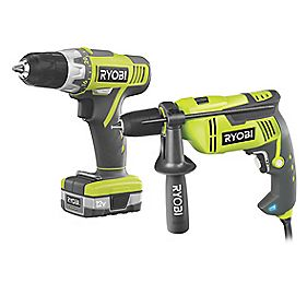 Ryobi EID750CSDT40 1.3Ah Ni-Cd 750W Hammer Drill & 12V Drill Driver