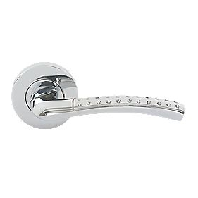 Ashala Dimple Lever on Rose Door Handles Pair Polished Chrome