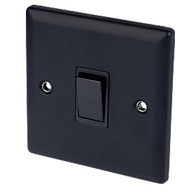 Volex 10A 1-Gang 2-Way Switch Blk Ins Matt Black Angled Edge